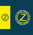 blue yellow z initial in circle vintage frame vector image vector image