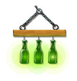 bottles lanterns on hanger luminous objects vector image vector image