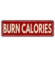 burn calories vintage rusty metal sign vector image vector image