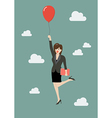 Business woman flying with red balloon vector image vector image