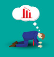 businessman kneeling and thinking of declining vector image vector image