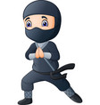 cartoon boy wearing a black ninja costume vector image