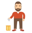 Cartoon man throwing garbage in bin vector image vector image