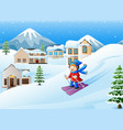 cartoon skiing girl on snowy hill vector image