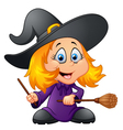 Cartoon young witch vector image