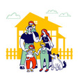 child adoption concept big happy family of vector image