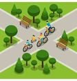 City Park Cycling Family Isometric Banner vector image vector image
