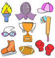 collection stock sport equipment doodle vector image
