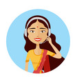 customer service indian woman working call center vector image