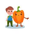 cute little boy hugging giant pepper vegetable vector image
