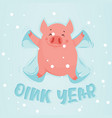 cute winter pig make snow angel happy new year of vector image vector image