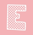E alphabet letter with white polka dots on pink vector image vector image