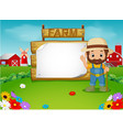 farmer with a blank wooden sign vector image vector image