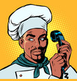 food delivery african chef takes orders phone vector image vector image