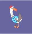 funny seagull in a striped vest cute comic bird vector image vector image