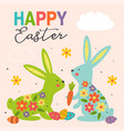 greeting card with colorful easter bunnies vector image