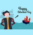 happy columbus day flat design greeting card vector image