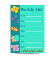 kids weekly list with cartoon insects vector image vector image