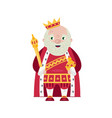 king wearing crown and mantle vector image vector image