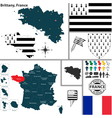 Map of Brittany vector image vector image