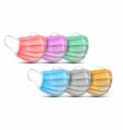 medical face masks set colorful surgical mask vector image