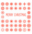 merry christmas text with snowflakes frame vector image vector image