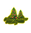 merry christmas with tree 2 vector image