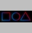 neon frames disco light bulbs rectangle triangle vector image