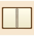 Open notebook with white page on beige background vector image vector image