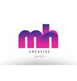 pink gradient mh m h alphabet letter logo vector image