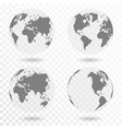planet earth icon set earth globe isolated vector image vector image