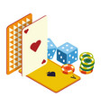 play cards and poker chips dices casino online vector image vector image