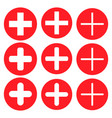 plus add zoom icon shape button set red vector image vector image
