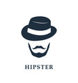 portrait of bearded man wearing hat hipster vector image