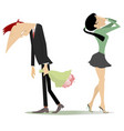quarrel between man and woman isolated on white il vector image vector image