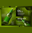 realistic green beer bottle on modern site vector image vector image