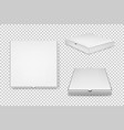 realistic white pizza boxes icon set vector image