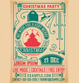 retro christmas party invitation holidays flyer vector image