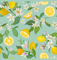 Seamless lemon pattern with tropic fruits leaves