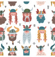 seamless pattern with vikings faces flat vector image