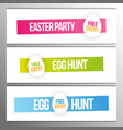 set easter party and egg hunt banners vector image vector image