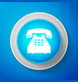 Telephone icon on blue background landline phone