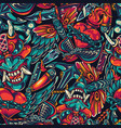 Vintage tattoos colorful seamless pattern