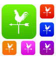 weather vane with cock set collection vector image vector image