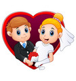 wedding couple with red frame in the shape of hear vector image