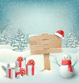 Winter Christmas Background with Signpost Snowman vector image