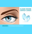 womans eye and couple of soft contact lenses vector image vector image