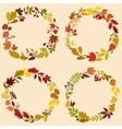 Wreaths of autumn leaves flowers and herbs vector image