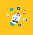 flat design with icons mobile services vector image