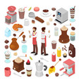 isometric bartender and coffee cafe collection vector image